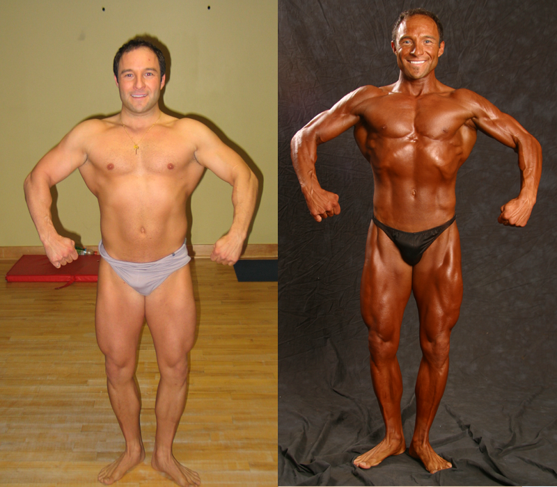 Jim Ribau - Bodybuilding - 2007 06 23 - 01 - Front Relax Pose, 12 week comparison