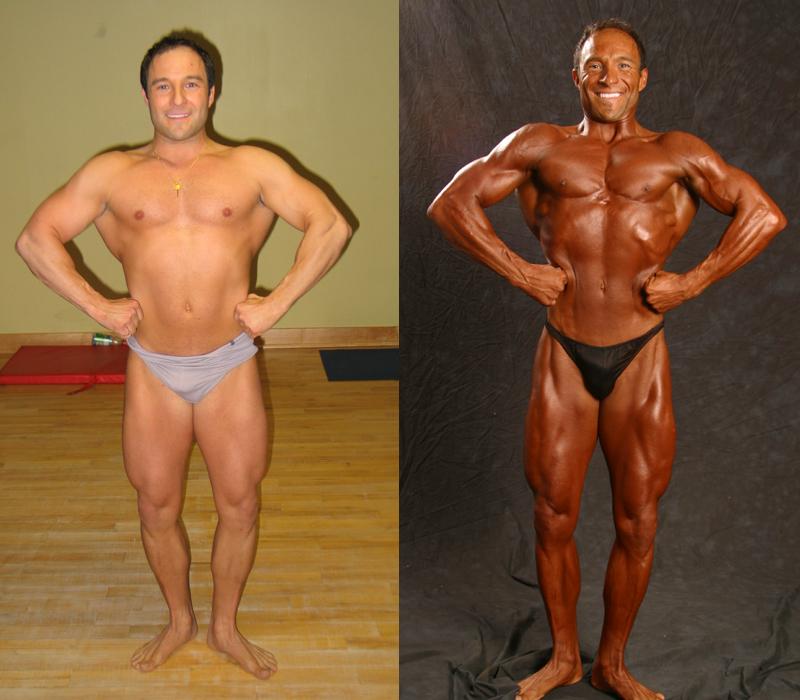 Jim Ribau - Bodybuilding - 2007 06 23 - 02 - Front Lat Spread pose, 12 week comparison