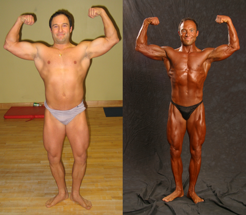 Jim Ribau - Bodybuilding - 2007 06 23 - 03 - Front Double Bicep pose, 12 week comparison