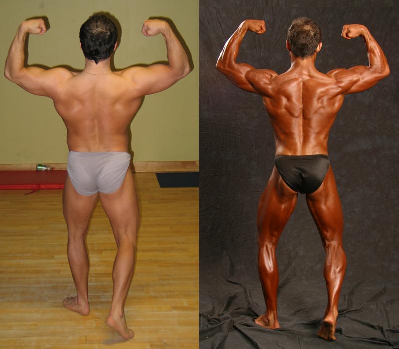 Jim Ribau - Bodybuilding - 2007 06 23 - 05 - Back Double Bicep pose, 12 week comparison
