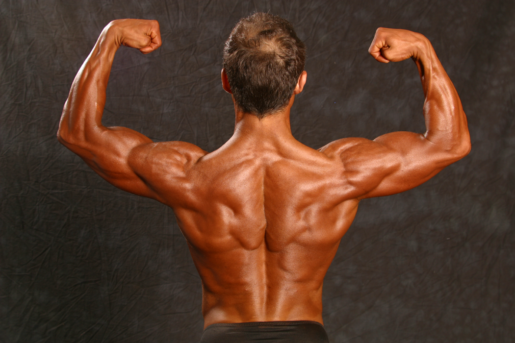 Jim Ribau - Bodybuilding - 2007 06 23 - 06 - Back Double Bicep pose, closeup