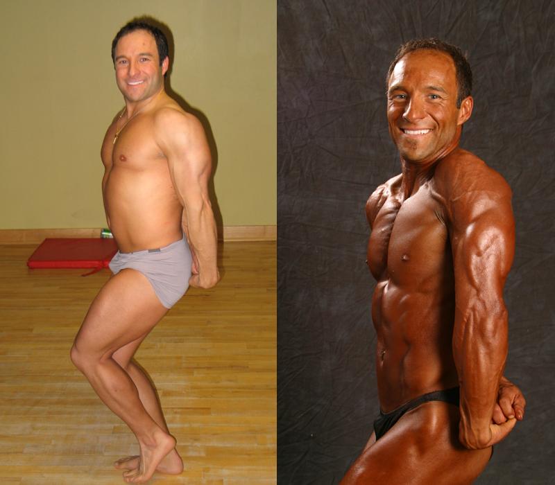 Jim Ribau - Bodybuilding - 2007 06 23 - 07 - Side Tricep pose, 12 week comparison