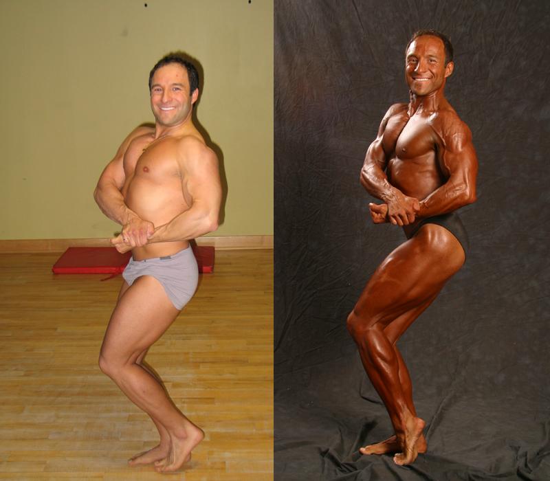 Jim Ribau - Bodybuilding - 2007 06 23 - 08 - Side Chest pose, 12 week comparison