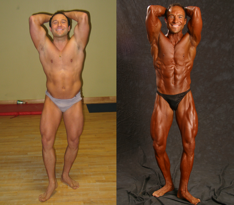 Jim Ribau - Bodybuilding - 2007 06 23 - 09 - Abs and Quads pose, 12 week comparison