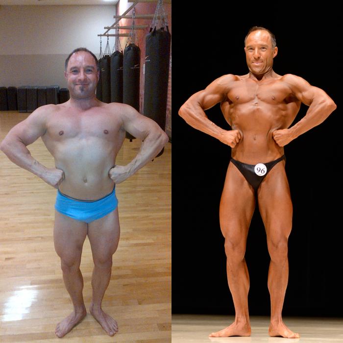 Jim Ribau Bodybuilding - 2013 07 07 - 02 - Front Lat Spread 12 week comparison