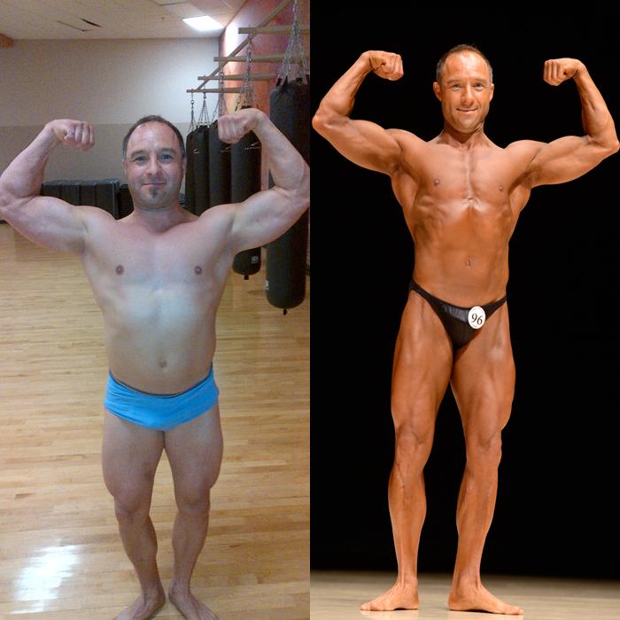 Jim Ribau Bodybuilding - 2013 07 07 - 03 - Front Double Bicep 12 week comparison