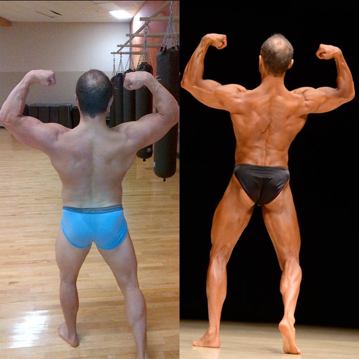 Jim Ribau Bodybuilding - 2013 07 07 - 05 - Back Double Bicep 12 week comparison